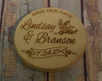 Names with Banner Save Our Date Personalized Wood  Magnets - Wedding favor and Announcement, Save the Date