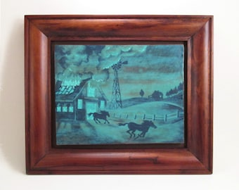 Framed Art Tile Ceramic Plaque, BARN FIRE, Hand Painted Antique Turquoise, 1930s WPA Style, 11 x 13 Horse Wall Art