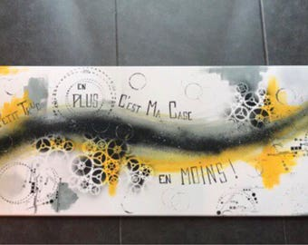 """Modern abstract painting on canvas """"my case less is my little something extra!"""""""