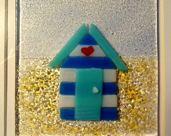 Beach Hut Art Frame, Fused Glass Art, Seaside Decor, Striped Beach Hut, Beach Hut Frame, Glass Art, Beach Hut Gift, Beach Wall Art