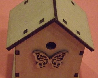 Small Butterfly Birdhouse  / Unfinished Wood / Craft Supply / mixed media supply / altered art supplies / assemblage / miniature garden