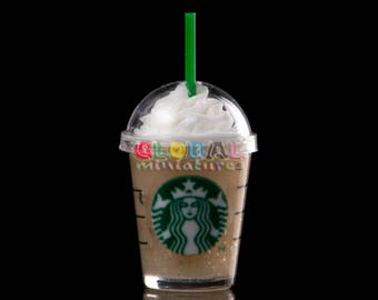 Dollhouse Miniatures Clear Plastic Glass of Starbucks Cappuccino Cream Frappe Closed with Dome Cap and Straw Drinks Coffee - 1:12 Scale