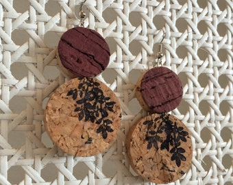 SALE! - Wine-stained Botanical Statement Earring