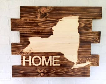 New York State HOME  Rustic Burned Wood Sign