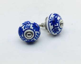 Shades of Blue and White Decorated Knobs, Ceramic Style Drawer Pulls, Cabinet Hardware, Handmade Furniture Handles, Mix and Match Knobs