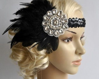 Vintage Inspired Headband, The Great Gatsby Headband, 1920s headpiece, Flapper Feather Headband, 1920's, 1930's, Black ,rhinestone