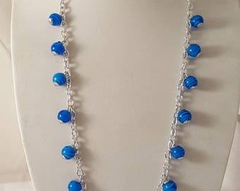 Blue & Silver Jewelry Set- Blue Necklace - Blue Earrings - Blue Bracelet - Chain Jewelry Set - Blue Jewelry - Dangle Necklace - Blue Jewelry