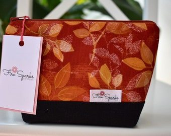 Zipped Pouch - Orange & Red Leaves - makeup bag, cosmetic bag, toiletry bag, accessories bag, pencil case, small storage bag, black canvas