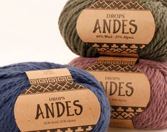Yarn DROPS Andes, 3 color choices, 100g