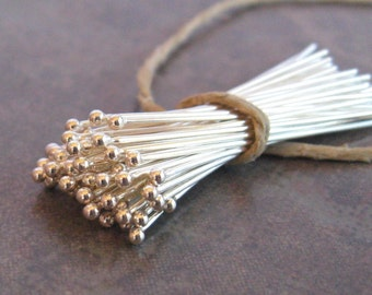 10 Bali Sterling Silver 24 gauge Headpins with Ball - 30mm