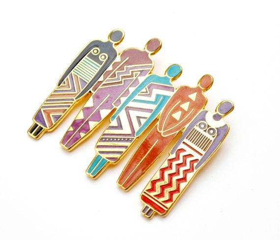 Laurel Burch Tribe  Brooch - Tribal People - gold  - Enamel - Signed