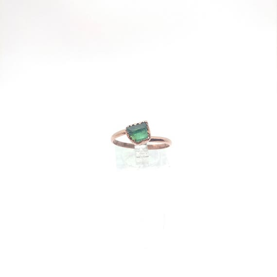 Raw Tourmaline Ring   Raw Crystal Ring   Copper Ring Sz 10.25   Rough Tourmaline   Green Tourmaline Crystal   Post Apocalyptic Clothing