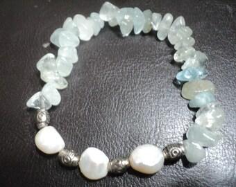 Bracelet Aquamarine and Freshwater Pearls  (1800)
