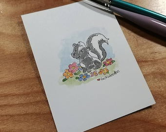 OOAK Mini Doodle Painting of a Skunk