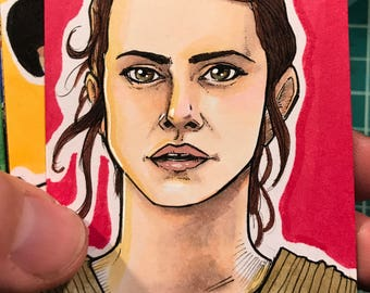 Journey to the Last Jedi Original Artist Sketch Card: Rey