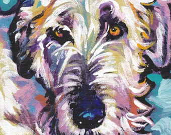 IRISH WOLFHOUND dog portrait art PRINT of pop art painting bright colors 12x12""