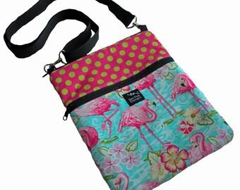 Flamingos Pink Tropical Dots Flowers Fabric Ipad Mini Kindle Nook Tablet E Reader Passport Sleeve Sling Messenger Travel Bag Purse Washable