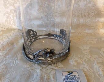 Vintage Seagull Pewter Glass Candleholder Vintage Home Decor