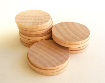 """25 Unfinished Wooden Circles 1.50"""" -Small Wooden Circles -Wooden Circles Supplies -Natural Wood Circles -Wood Circles Beads"""