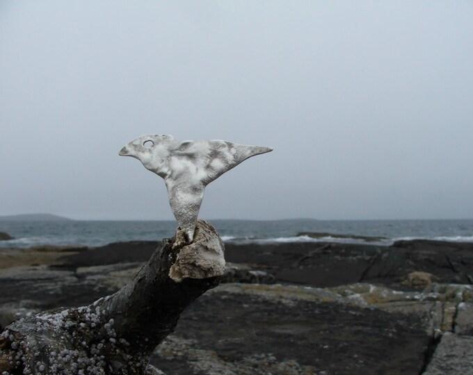 Silver Reticulated Bird Brooch