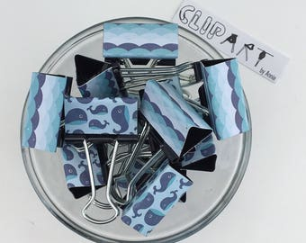 "Binder Clips - ""Whales & Waves"""