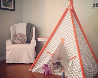 Chevron Kids Teepee with Solid Orange Sleeves  Chevron Kids Tent,  Kids Play Tent  Chose your fabric