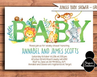 Jungle Animals Baby Shower Invitation. Jungle Baby Shower. Safari Baby Shower.