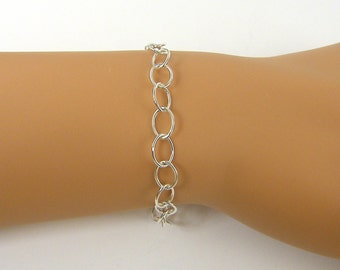 Sterling Silver Bracelet Chain, Chain Bracelet, Silver Bracelet for Charms Large Oval Link Charm Bracelet