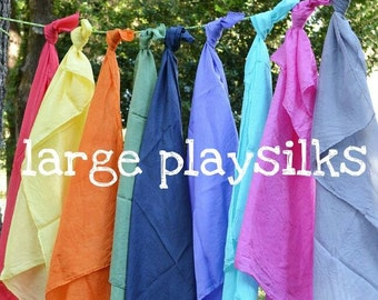 Playsilks, Waldorf Inspired Single Large Play Silk, 35 x 35. Open Ended Play, Dress Up, Waldorf Doll Accessory. Choose Colors