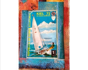 Sailboat art card features Kiel 72 Sailboat