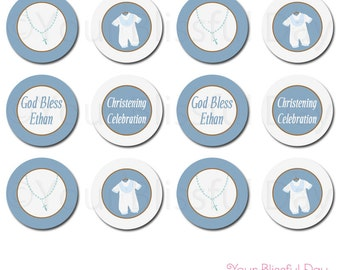 PRINTABLE Baby Boy Christening/Baptism Party Circles (Personalized) #601