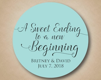 Wedding Favor Stickers Thank You Favor Labels A Sweet Ending to a New Beginning Custom Round Favor Tags Welcome Bag Stickers Personalized