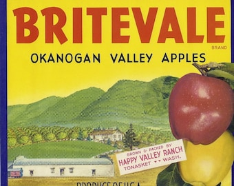 Britevale Apples Vintage Crate Label, 1940's