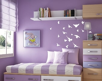 """Flock of Birds Flying Angry Pigeon Wall Nursery Decal Highly Detailed  Birds 1169 34"""" wide x 28"""" high"""
