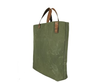 Canvas bag with leather straps, green canvas bag, recycled canvas bag, large tote bag, shopping bag, beach bag