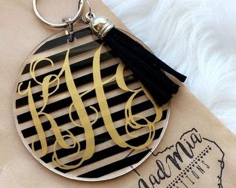 """3"""" Striped Vine Monogram Keychain With Tassel"""