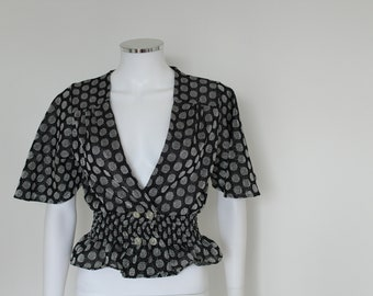 1970s Top / Lurex / Polka Dots / Disco / S