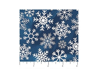 O Christmas Tree~Large Snowflakes/Navy Cotton Fabric By Northcott