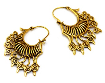 Tribal Earrings, Tribal Brass Earrings, Ethnic Earrings, Gypsy Earrings, Indian earrings, Boho Earrings, Bohemian Earrings, Tribal Jewelry