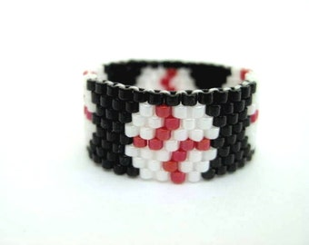 Baseball Ring / Peyote Ring / Beaded Ring / Seed Bead Ring  / Beadwoven Ring / Beadwork Ring / Delica Ring / Custom Ring
