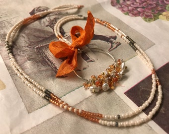 Orange sapphire, keshi pearl and sterling silver pendant with beaded bohemian necklace