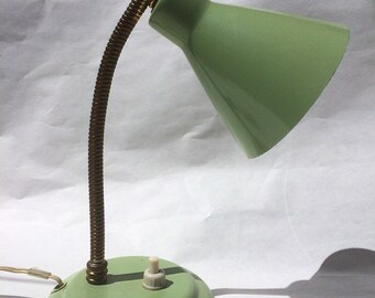 vintage 1950s mint green gooseneck desk lamp