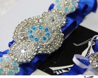 Bridal Garter, wedding garter Set , custom color garters, something blue, bridal accessories, rhinestone garters