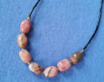 Handmade Pink Rhodonite Necklace, 18 inch necklace with magnetic clasp, pink and black beaded necklace gemstone necklace
