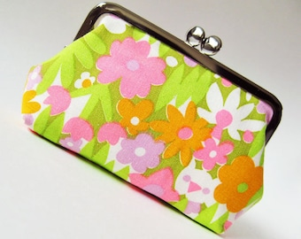 Frame purse vintage fabric pink purple green orange retro flowers