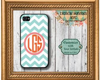 Preppy Aqua Chevron Monogram iPhone Case, Personalized iPhone Case, Phone 4, 4s, iPhone 5, 5s, 5c, iPhone 6, 6 Plus, Phone Cover, Phone Case