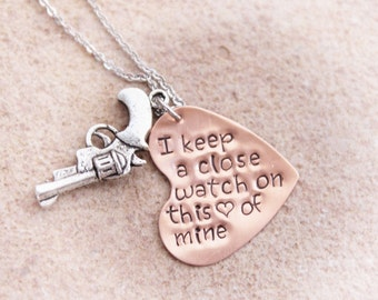 Hand Stamped Jewelry, Rustic Pistol Necklace, I Keep A Close Watch on This Heart Of Mine