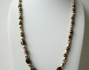 ON SALE Vintage 1960s Gold Tone Metal Tiger Eye Variations Dark Plum Purple Lilac Glass Beads Necklace 22817