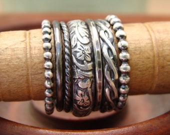 Oxidized Sterling Silver Stack Rings--Set of 7--Floral, Rope, Braid, Hammered, Plain, and Beaded--Sweet & Simple