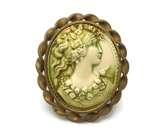 Vintage Antique Celluloid Victorian Cameo Brooch Pin Early 1900s - C Clasp Large Detailed Pale Green Cameo Pin Gold Tone Twist Frame Setting